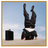 image of business man doing a handstand